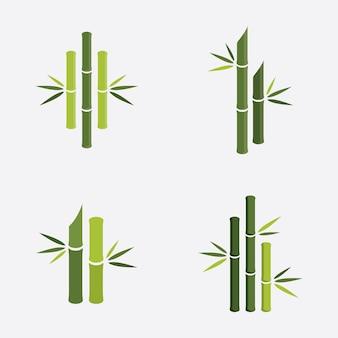 Logo di bambù verde, illustrazione vettoriale design