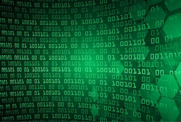Fondo futuro di concetto di tecnologia del circuito cyber binario verde