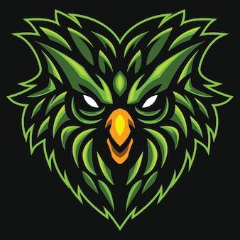 Green bird head esport logo illustrazione