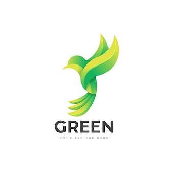 Green bird logo template design
