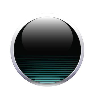 Icona del segno di pulsante di palla di vetro nero verde