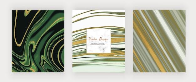 Inchiostro liquido verde e nero con glitter oro e cornice in marmo.