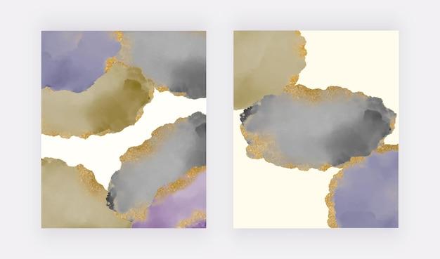 Forme acquerellate verdi nere e viola con sfondi glitter dorati