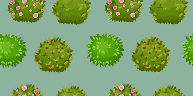 Modello senza cuciture verde cespuglio fiorito
