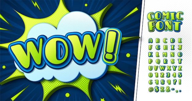 Carattere di fumetti verde-blu, alfabeto da cartone animato per bambini