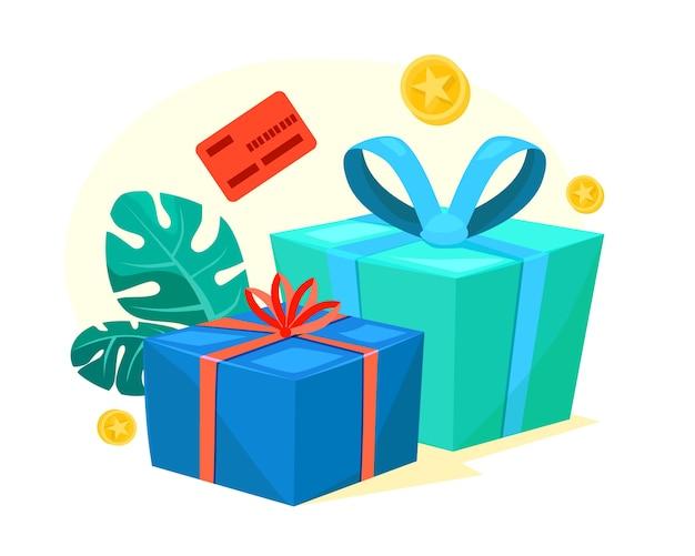 Scatole regalo verdi e blu con nastro rosso, denaro bonus, guadagna punti, programma fedeltà