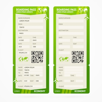 Set di biglietti per la carta d'imbarco verde