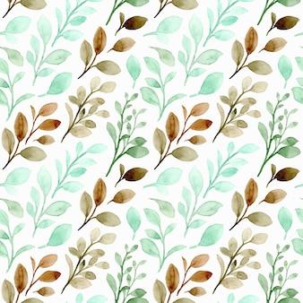 Modello senza cuciture dell'acquerello delle foglie marroni verdi