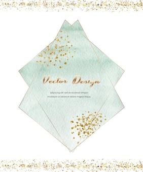 Cornici geometriche acquerellate di pennellata verde con texture glitter oro, coriandoli.