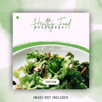 Modello di post di social media di cibo sano di insalata di acquerello pennello verde