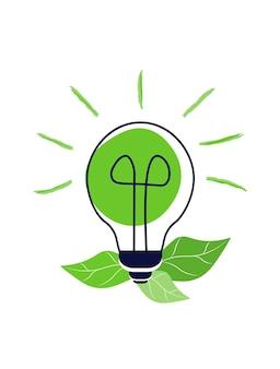 Lampadina verde con foglie concetto di energia verde