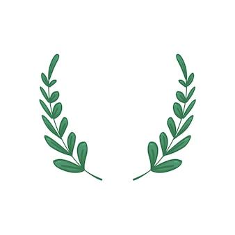Corona di alloro verde foglia handrawing del fumetto