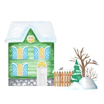 Green cartoon winter house con staccionata in legno e coppia di uccelli ciuffolotto, cumuli di neve, albero di natale.