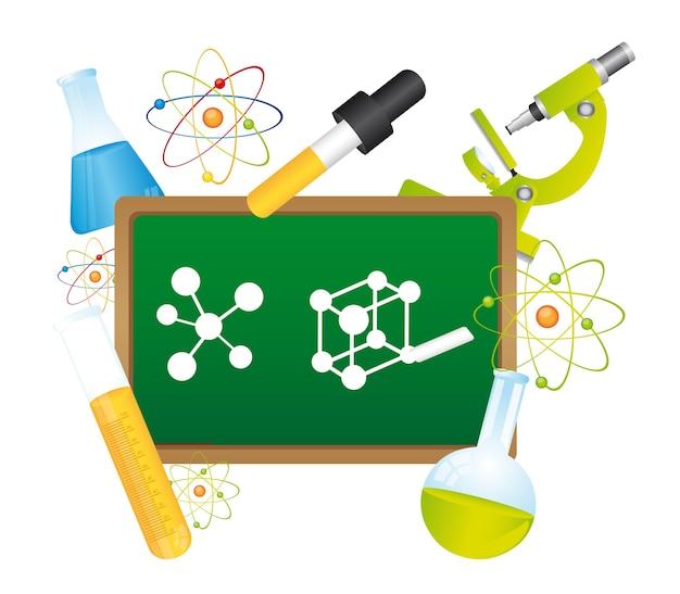 Lavagna verde con elementi di scienza illustrazione vettoriale