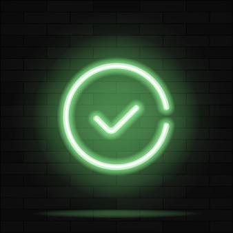 Segno di spunta verde segno al neon vettore. insegna al neon del pulsante della lista di controllo, modello di design, design di tendenza moderno, insegna al neon notturna, pubblicità luminosa notturna, banner luminoso, arte della luce. illustrazione vettoriale