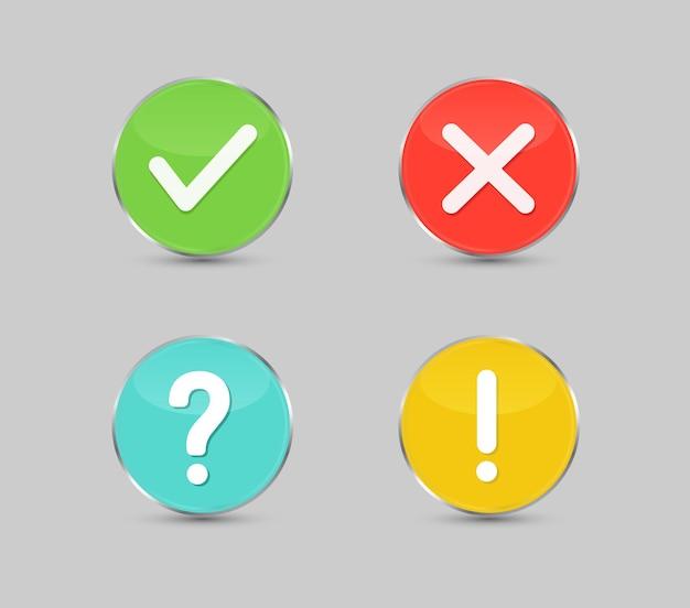 Segno di spunta verde e pulsante croce rossa punto esclamativo pulsante punto interrogativo