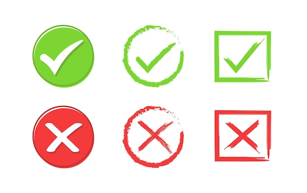 Segno di spunta verde e pulsante croce rossa set di true e false