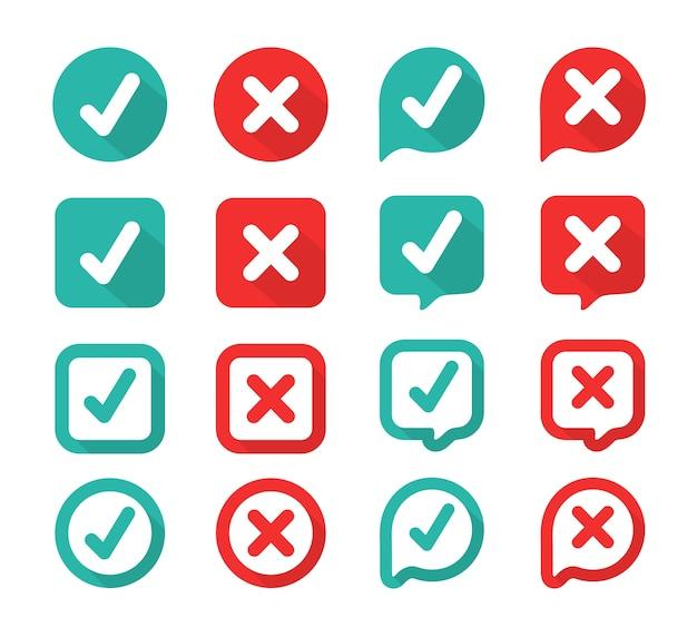 Segno di spunta verde e rosso sbagliato nella casella selezionata. vero o falso