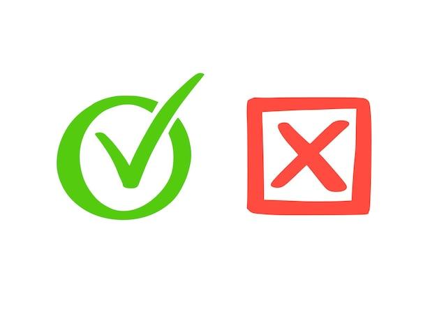 Segno di spunta verde e croce rossa. stile di schizzo doodle disegnato a mano. vota, sì, nessun concetto disegnato. casella di controllo, segno di croce con elemento quadrato, cerchio. illustrazione vettoriale.