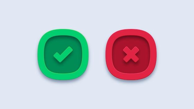 Segno di spunta verde e croce rossa icone del segno