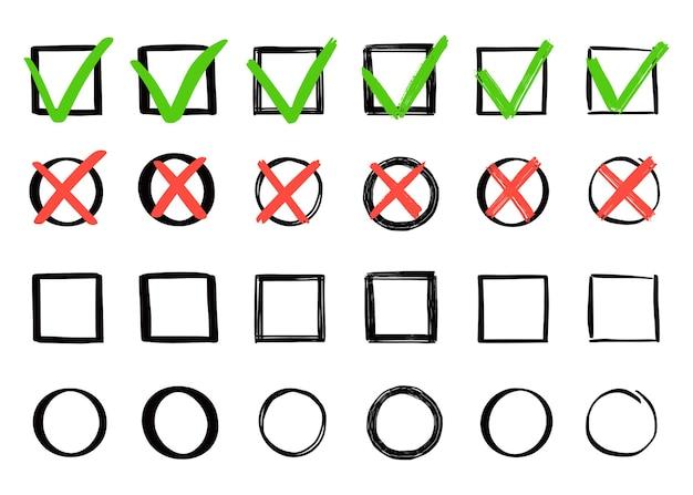 Set di controllo verde e croce rossa. stile di schizzo doodle disegnato a mano. vota, sì, nessun concetto disegnato. casella di controllo, segno di croce con elemento quadrato, cerchio. illustrazione vettoriale.