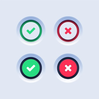 Segno di spunta verde e pulsanti a croce rossa