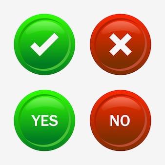 Segno di spunta verde e icone della croce rossa o simboli approvati e rifiutati