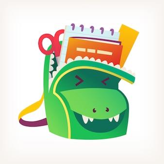 Zaino verde per bambini pieno di libri e materiale scolastico