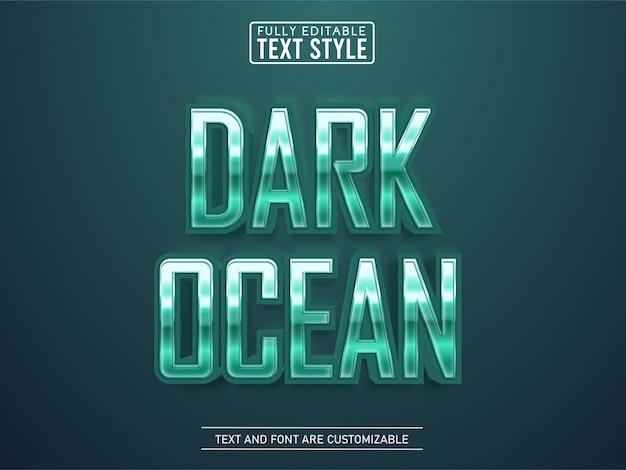 Cromo verde metallizzato che brilla nell'effetto di testo oceanico profondo Vettore Premium