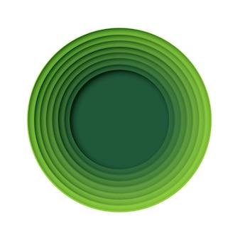 Cerchio verde carta astratta stile arte forma natura e concetto di tecnologia eco. disegno vettoriale.