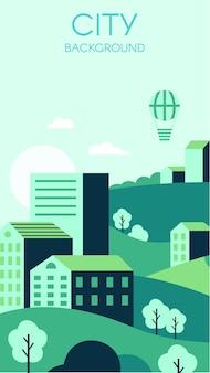 Sfondo verde della città. volantino del concetto di protezione ambientale con città urbana e natura.