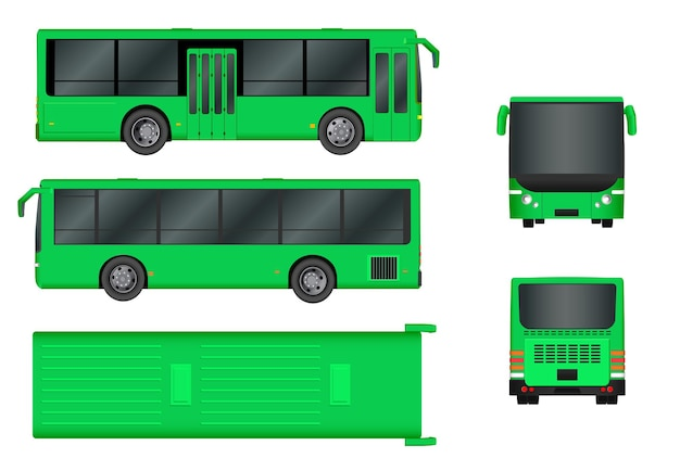 Modello di autobus della città verde. trasporto passeggeri tutti i lati vista dall'alto, di lato, dietro e davanti. illustrazione vettoriale eps 10 isolato su sfondo bianco