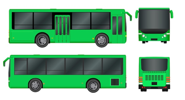 Modello di autobus della città verde. trasporto passeggeri isolato su sfondo bianco.
