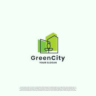 Città verde, design del logo della città ecologica. la natura con il concetto di combinazione immobiliare