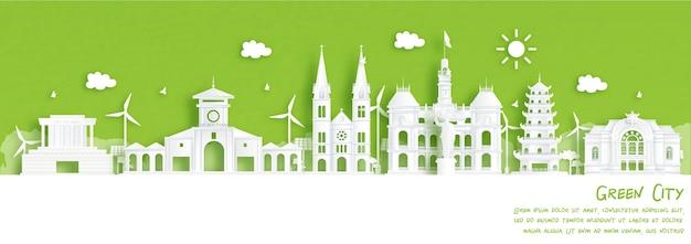 Città verde di ho chi minh city, vietnam. concetto di ambiente ed ecologia in stile taglio carta. illustrazione vettoriale.