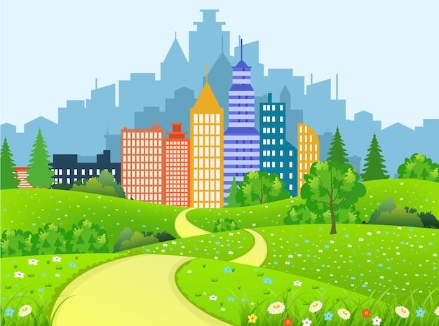 Paesaggio della città verde con strada