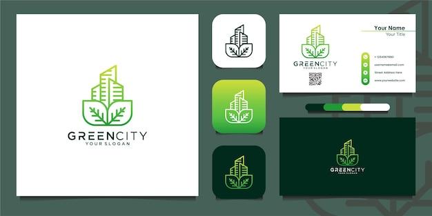 Costruzione del modello di progettazione del logo della città verde e biglietto da visita vettore premium