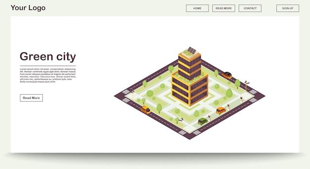 Modello verde della pagina web della città con l'illustrazione isometrica