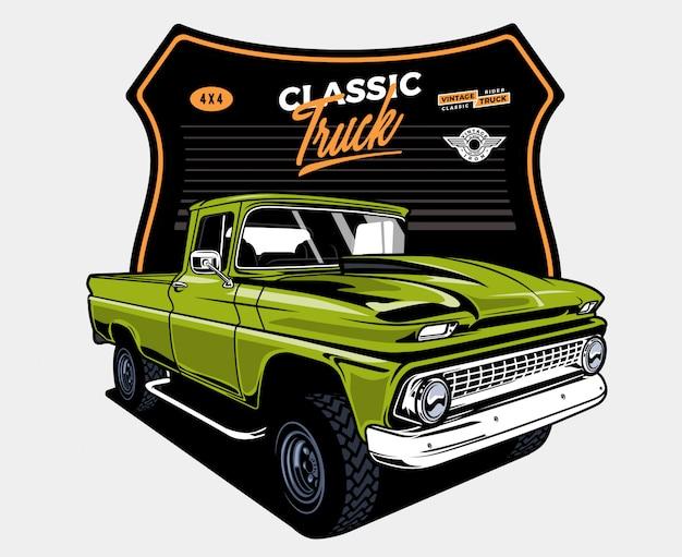 Automobile classica verde con il distintivo