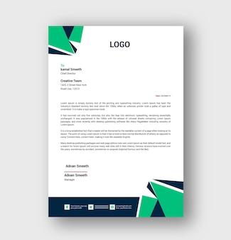 Carta intestata di colore verde o modello di carta intestata aziendale