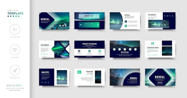 Modello di presentazione aziendale in stile moderno di colore verde