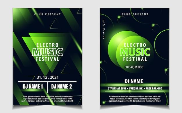 Volantino musicale o poster per feste da ballo notturne di colore verde