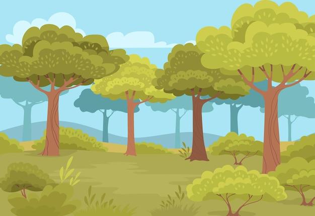 Paesaggio forestale estivo di colore verde
