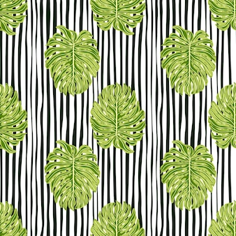 Modello senza cuciture di colore verde foglia monstera. ornamento di palma tropicale fogliame. sfondo a righe.