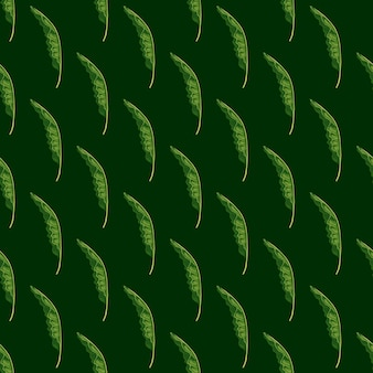Modello senza cuciture di colori verdi con forme di fogliame di palma tropicale. sfondo scuro. ornamento di verde.