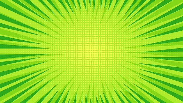 Sfondo di pagina di fumetti verde in stile pop art con spazio vuoto. modello con raggi, punti e texture effetto mezzitoni. illustrazione vettoriale