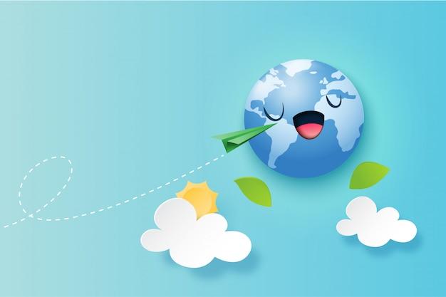 Concetto verde di viaggio intorno ai precedenti del mondo
