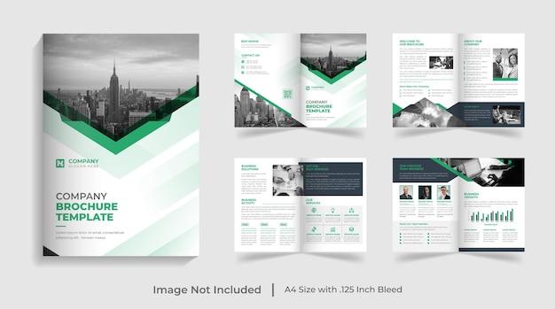 Modello di brochure pieghevole moderno aziendale verde profilo aziendale