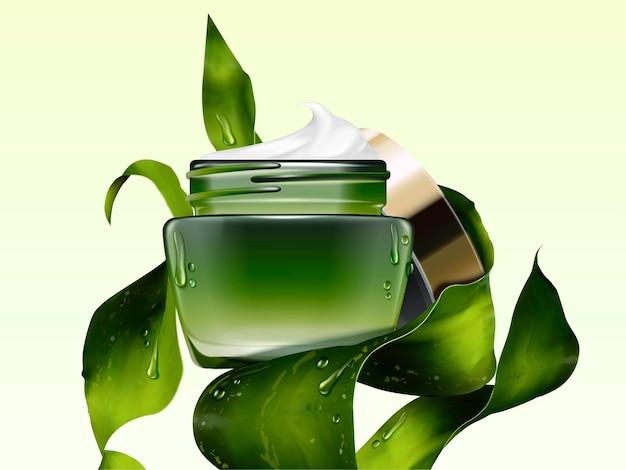Mockup di barattolo di crema cosmetica verde con alghe