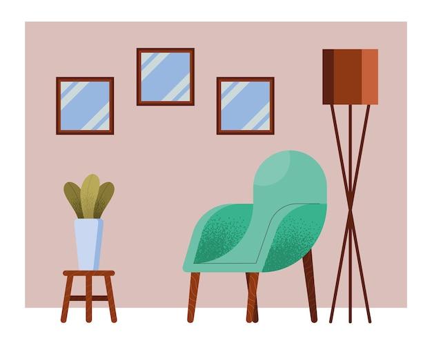 Divano verde nella scena del soggiorno